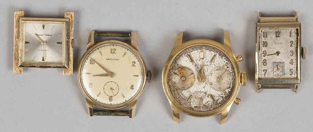 Four Men's Gold Wrist Watches