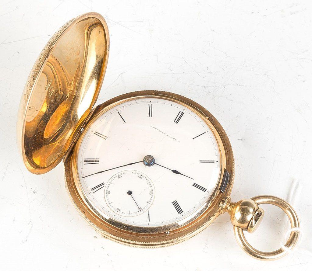 American Watch Co. 18K Gold Hunters Case Pocket   Watch
