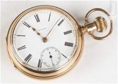 Waltham 14k Gold Open Face Pocket Watch