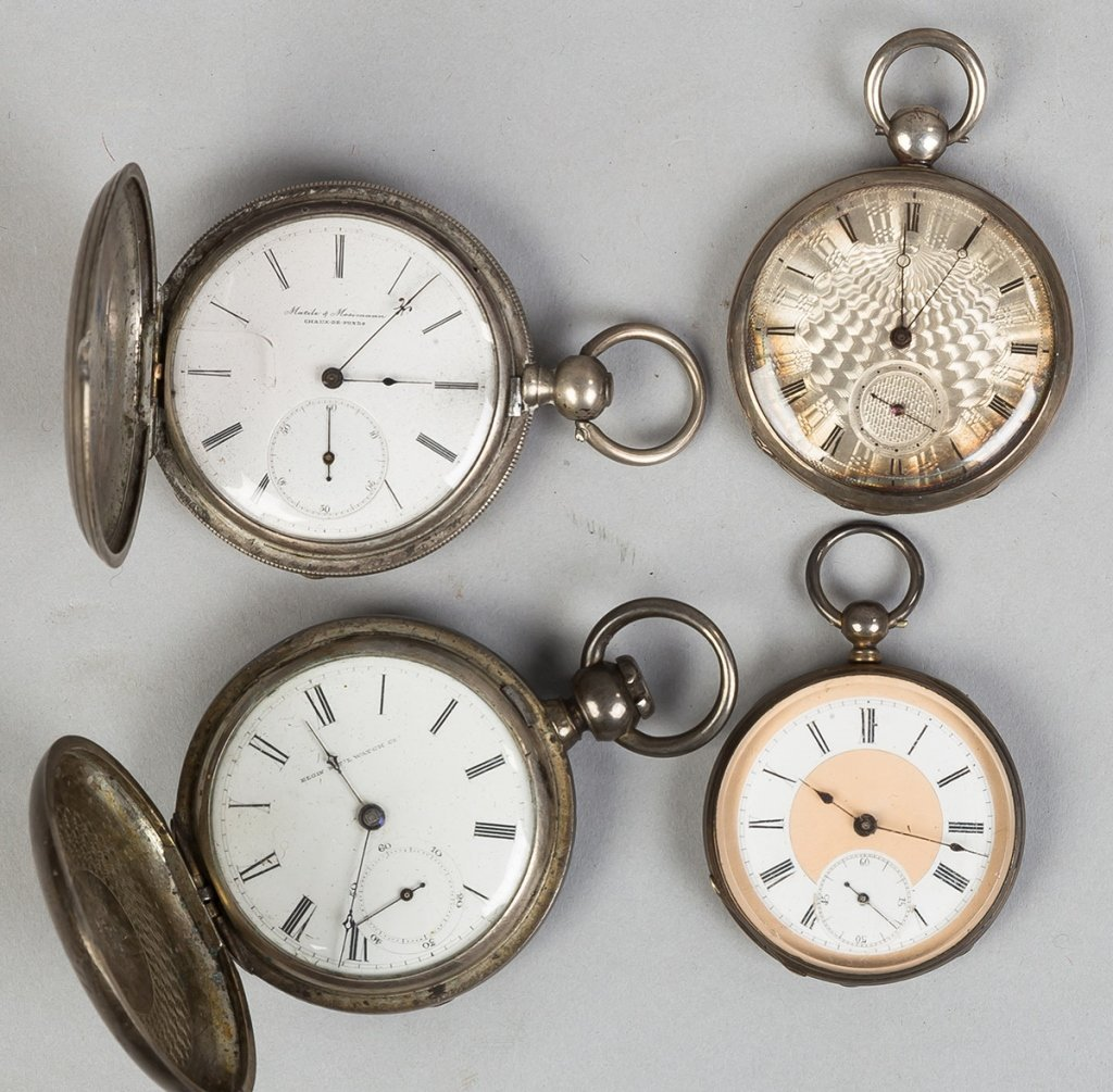 Four Coin Silver Pocket Watches