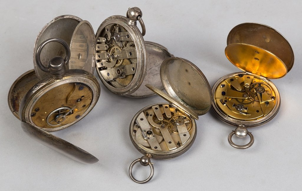 Four Coin Silver Pocket Watches - 2