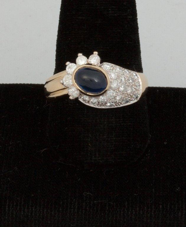 14k Gold Sapphire Cab. and Diamond Ring
