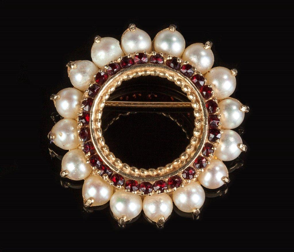 14K Gold & Pearl Brooch