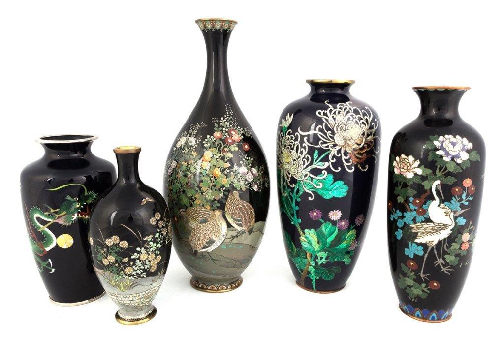 Group of Cloisonne Vases