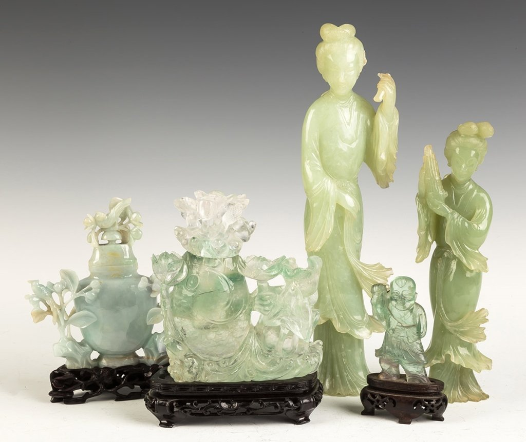 Group of Chinese Rock Crystal and Jade Covered   Vases