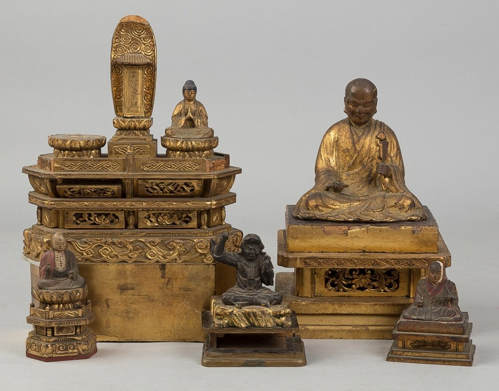 Various Carved Gilt wood Chinese and Japanese