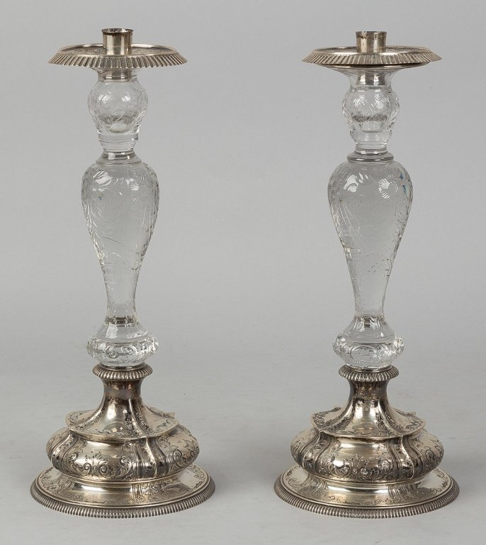 Pair Dominick & Haff Sterling & Cut Crystal