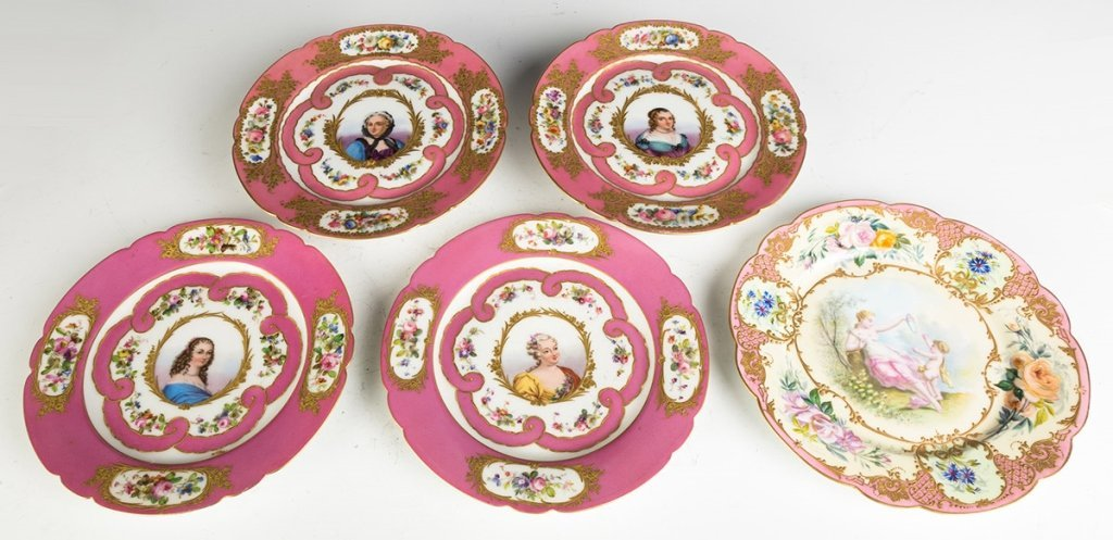 Sevres Hand Painted Porcelain Portrait Plates and