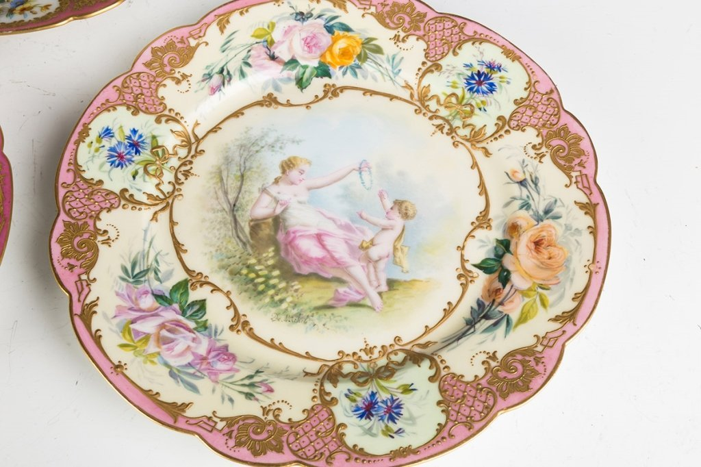 Sevres Hand Painted Porcelain Portrait Plates and - 2