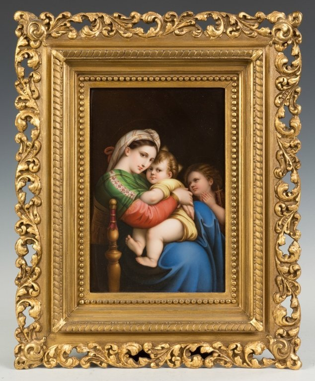 German Hand Painted Porcelain Plaque of Madonna &