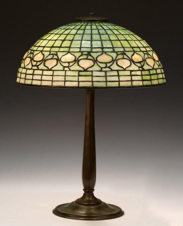 Tiffany Studios, NY Leaded Glass Acorn Lamp with