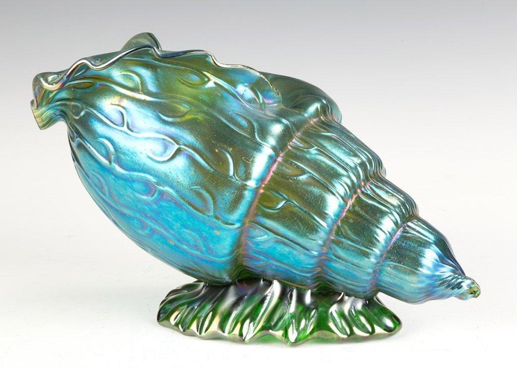 Fine Loetz Large Nautilus Shell Blue Iridescent  Vase - 2