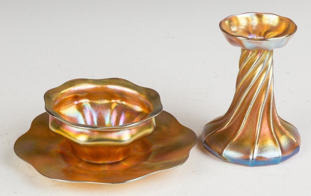 Two Tiffany Favrile Gold Iridescent Articles