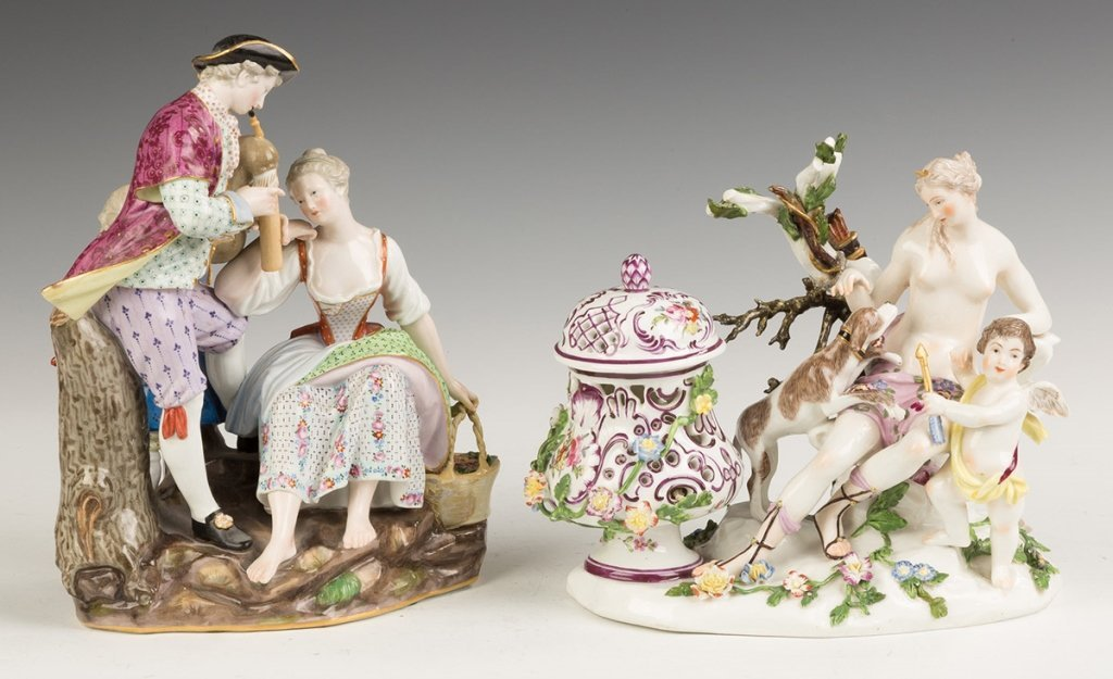 Two Hand Painted Porcelain Figural Groups