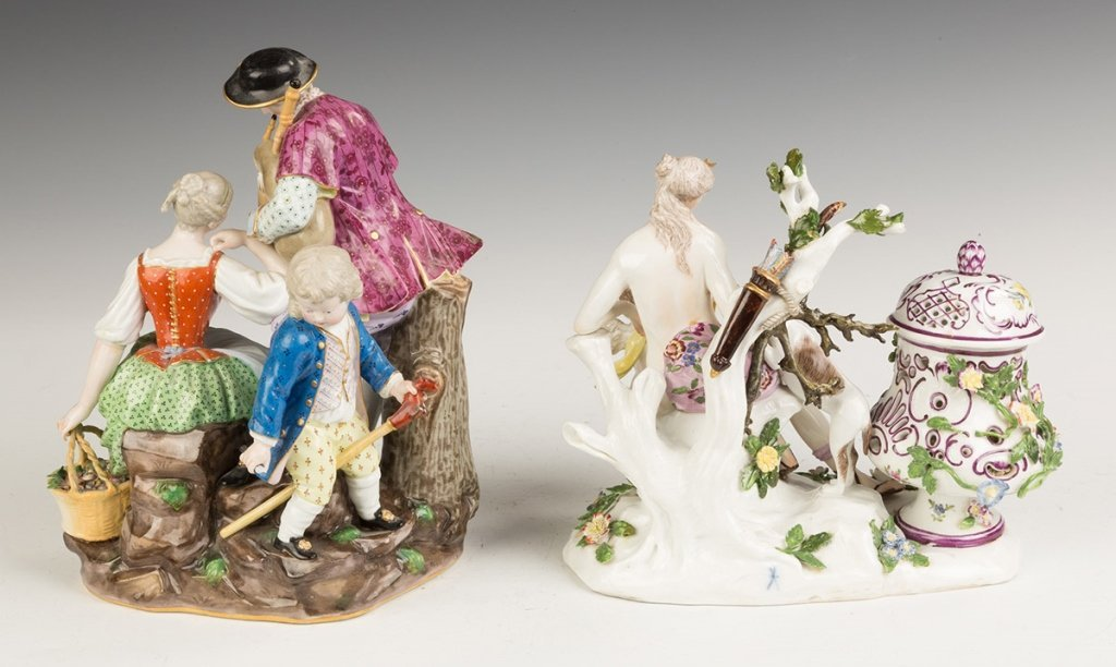Two Hand Painted Porcelain Figural Groups - 2