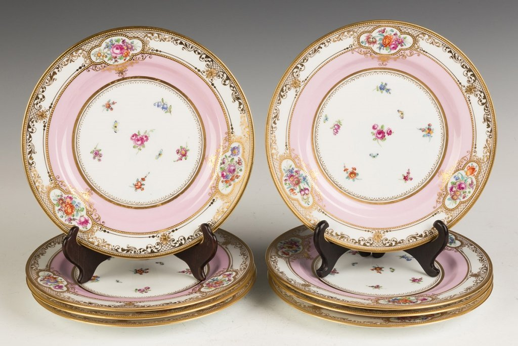 Eight Dresden Hand Painted and Gold Leaf Plates