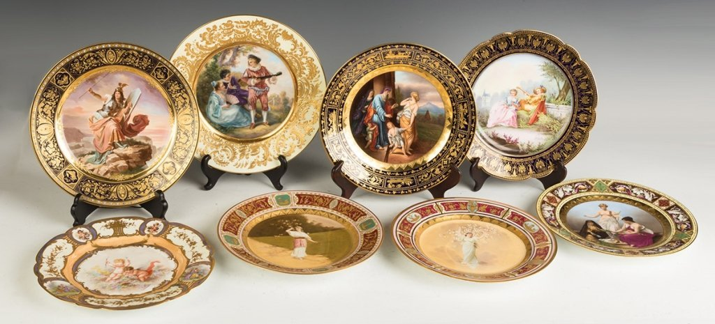 Group of Eight  Austrian and Sevres Hand Painted