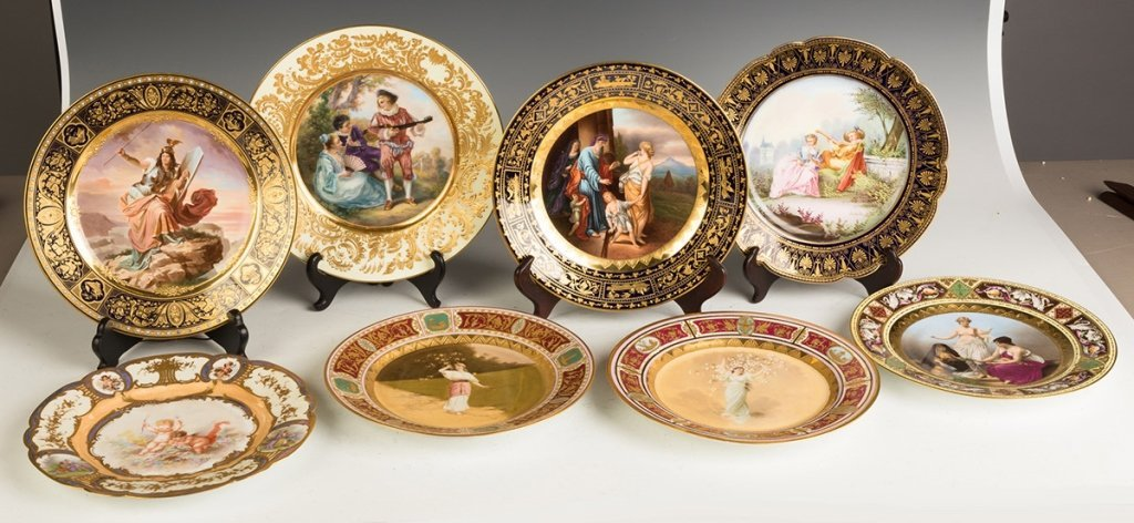 Group of Eight  Austrian and Sevres Hand Painted - 2