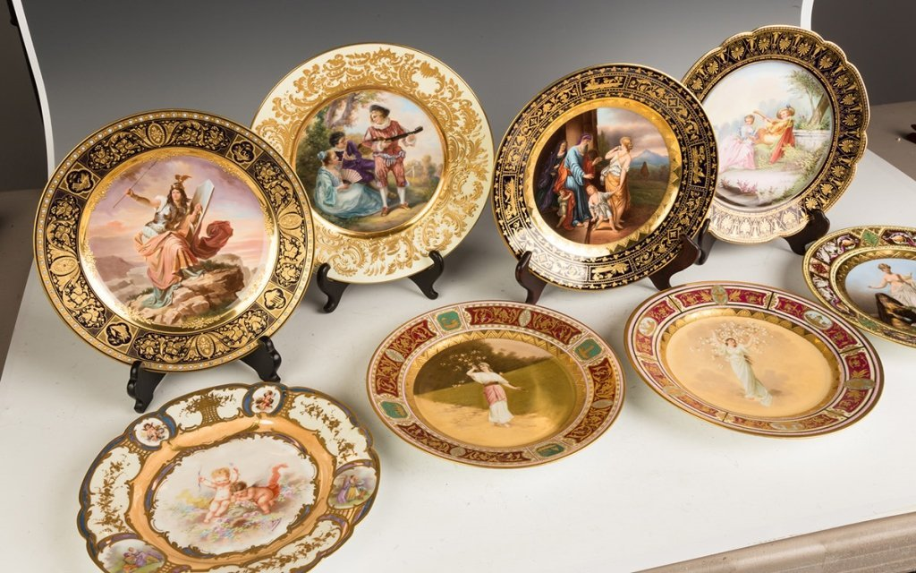 Group of Eight  Austrian and Sevres Hand Painted - 3