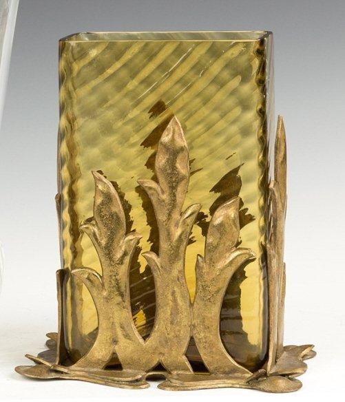 Steuben Vase with Patinaed Bronze Mounts