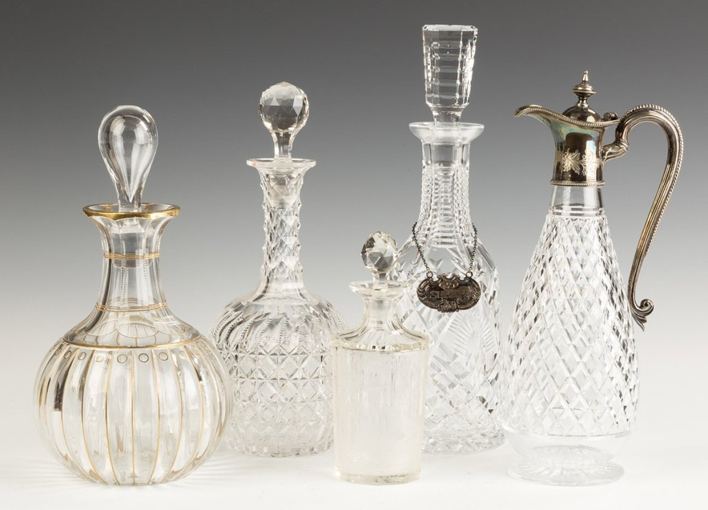 Group of Various Cut Glass and Etched Decanters  and