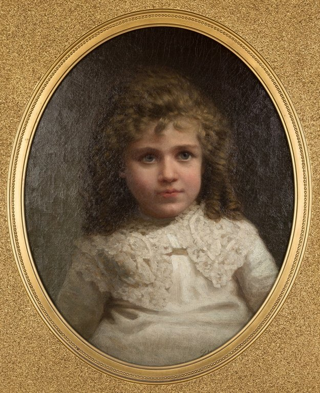 George Waters, Portrait of young girl in lace  dress