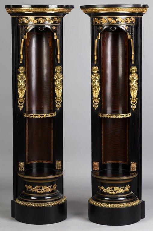 Pair Victorian Inlaid and Ebonized Corner Shelves