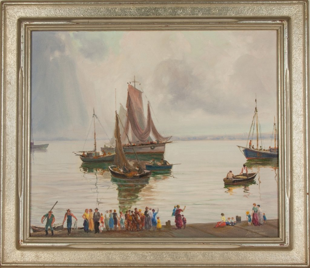 Nunzio Vayana (Italian, 1878-1960) Boats at the  Shore