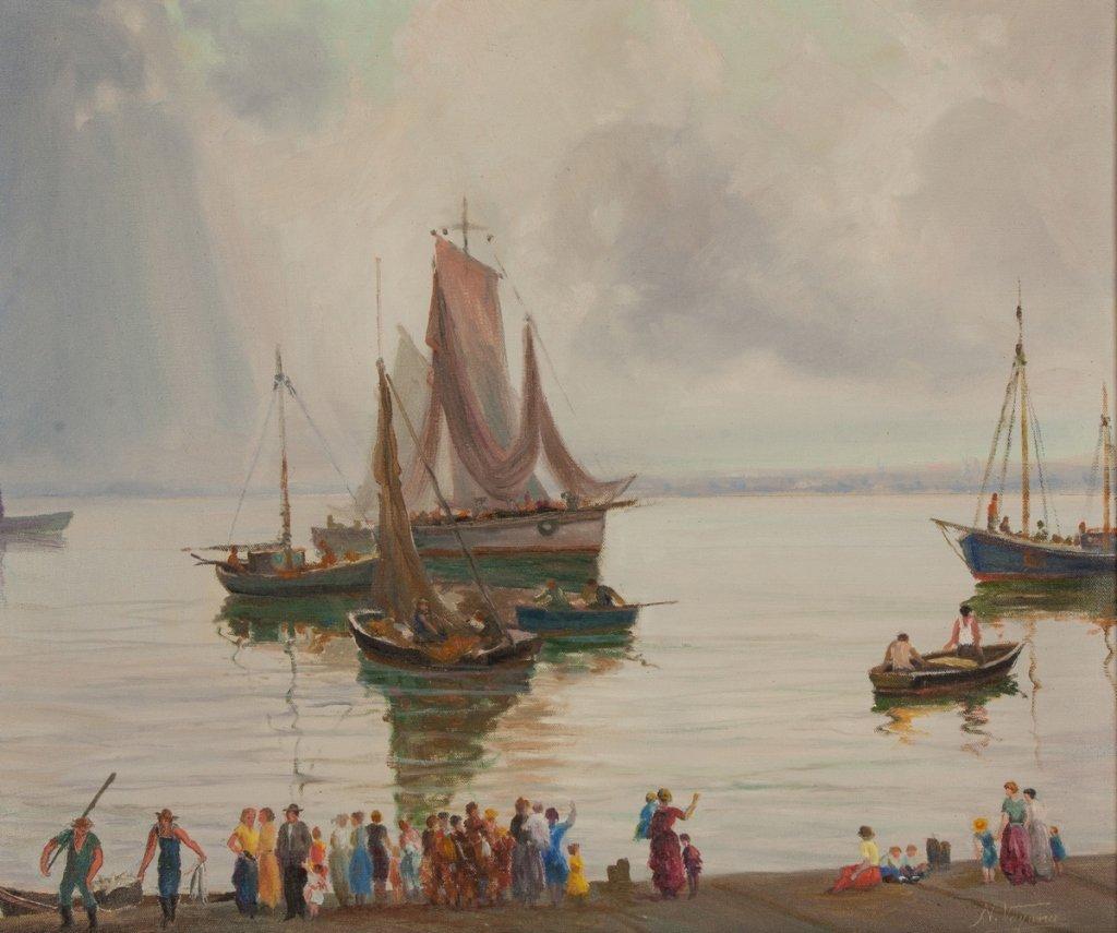 Nunzio Vayana (Italian, 1878-1960) Boats at the  Shore - 2