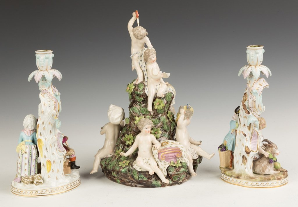 Dresden Candlesticks and Porcelain Figural Group - 2