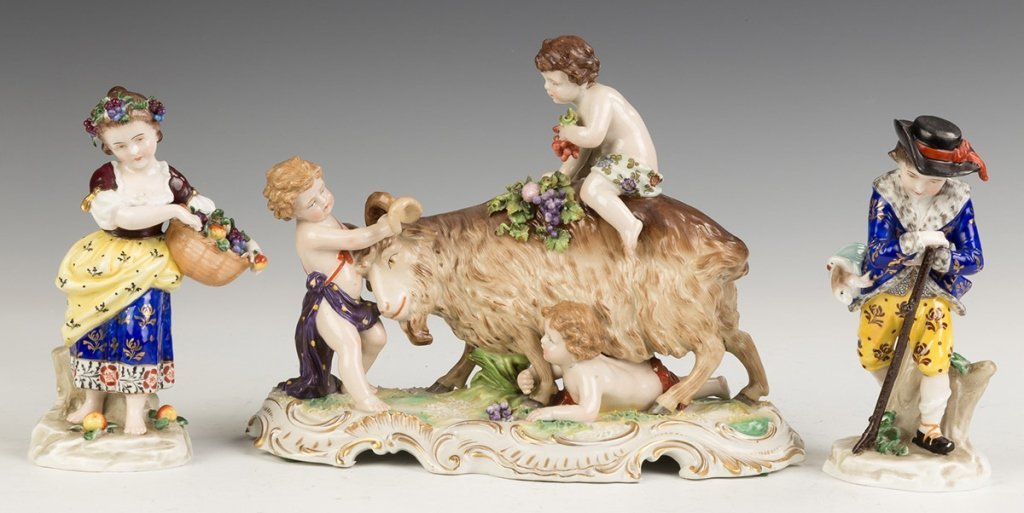 German Hand Painted Porcelain Figures and Figural