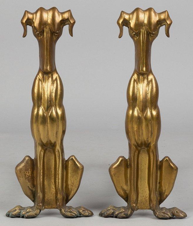Brass and Iron Dog Andirons