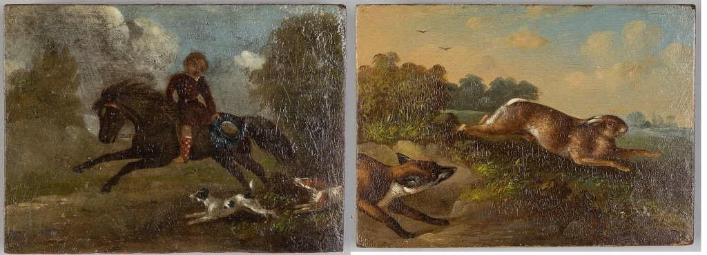 Pair 19th Century Paintings on Wood Panel