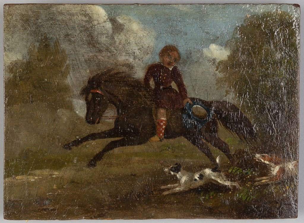 Pair 19th Century Paintings on Wood Panel - 2