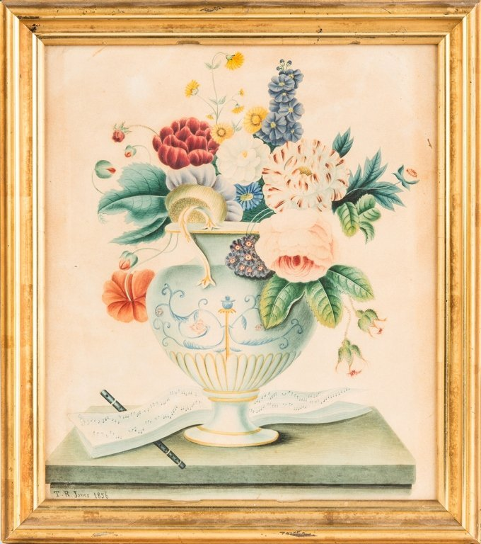 Watercolor of Flowers with Musical Book and Flute
