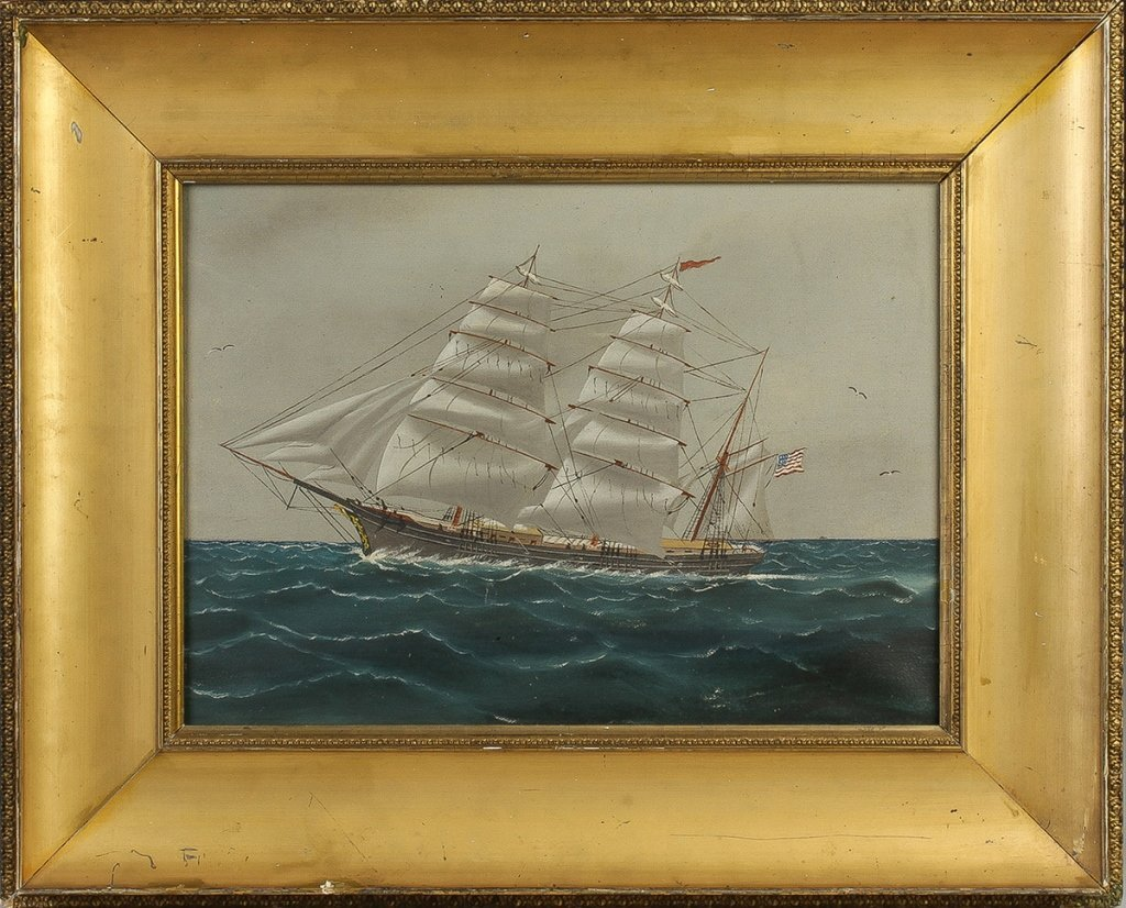 Late 19th Cent Painting of an American Clipper   Ship