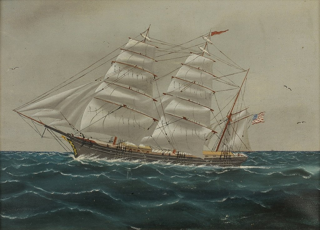 Late 19th Cent Painting of an American Clipper   Ship - 2