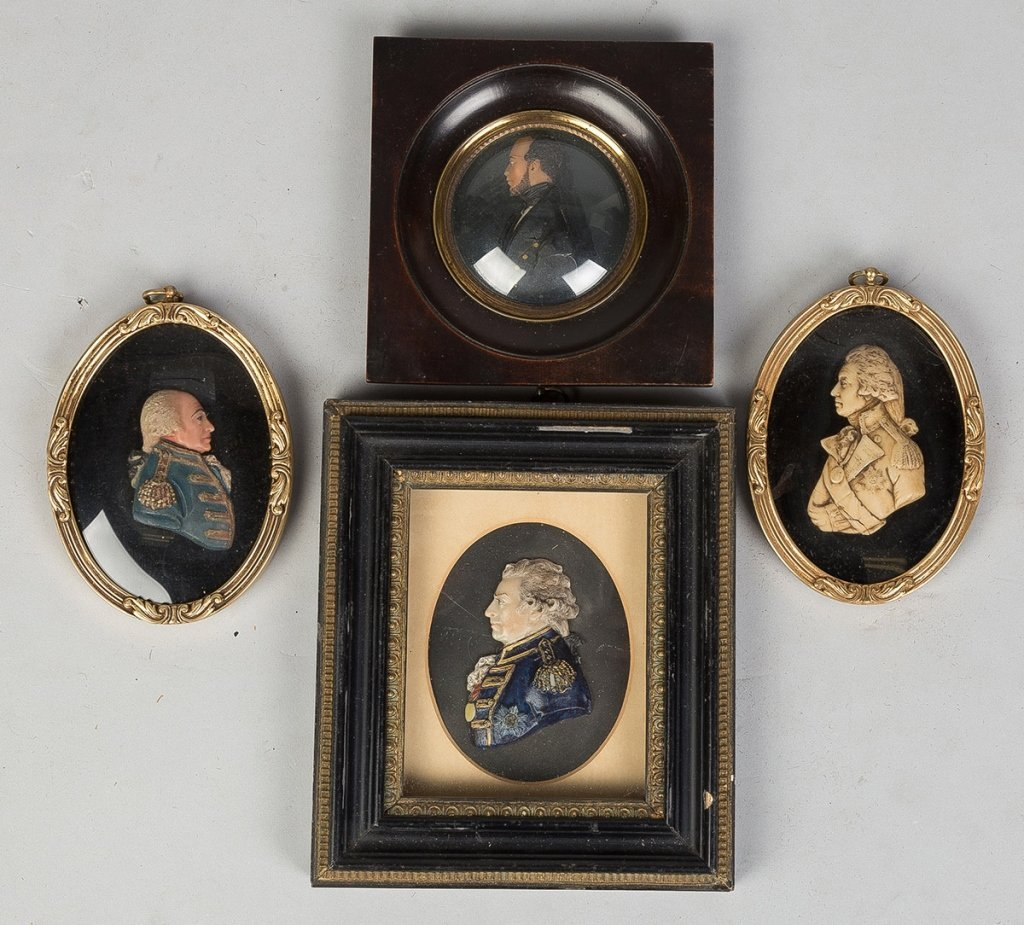 19th Century Miniature Wax Portraits