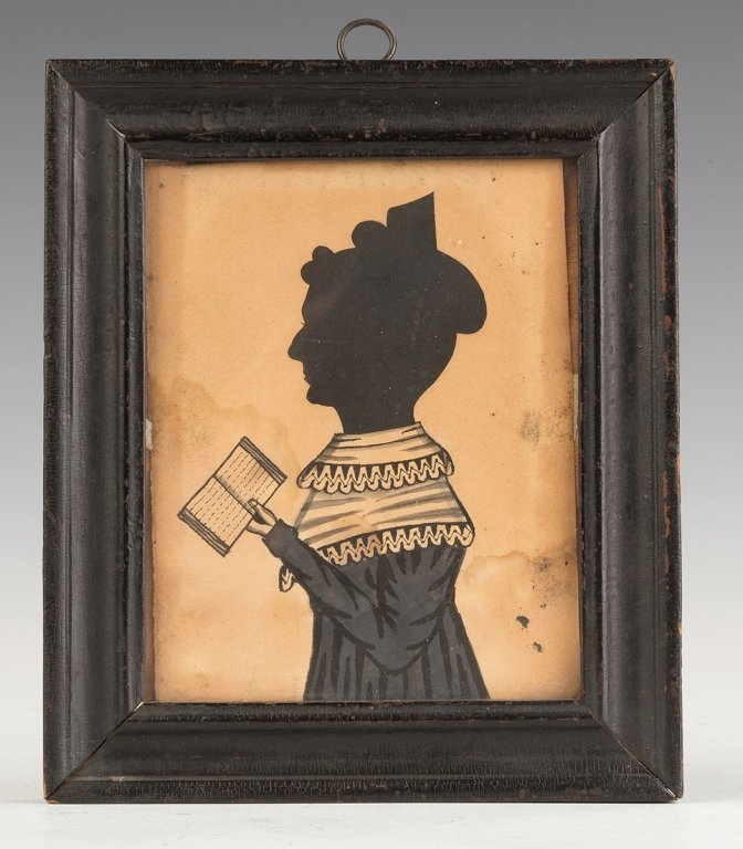 Watercolor Silhouette of Lady with Book