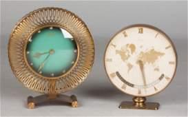 2 Mid-Century German Brass Table Clocks