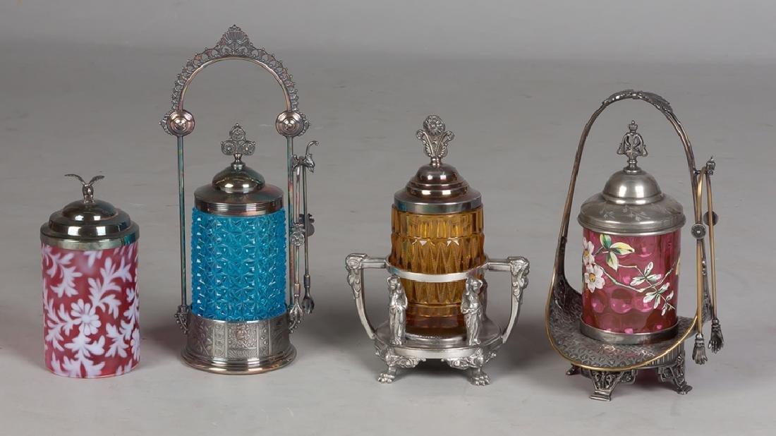 Four Victorian Pickle Castors