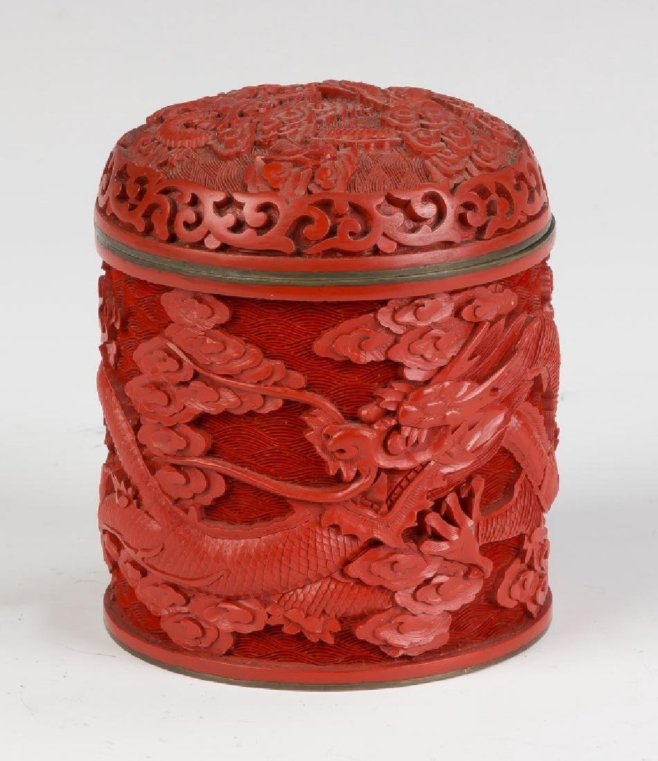 Asian Cinnabar Lacquer Carved Box