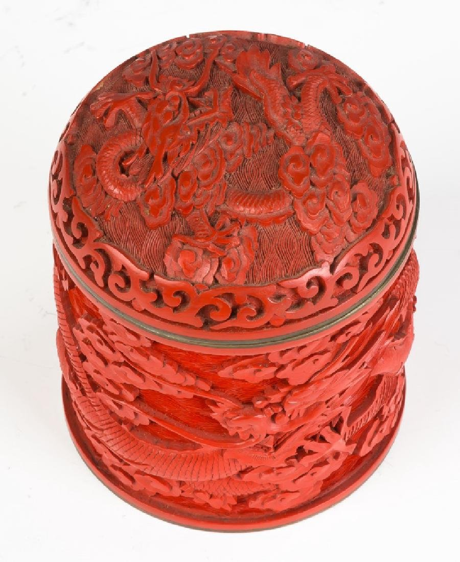 Asian Cinnabar Lacquer Carved Box - 2