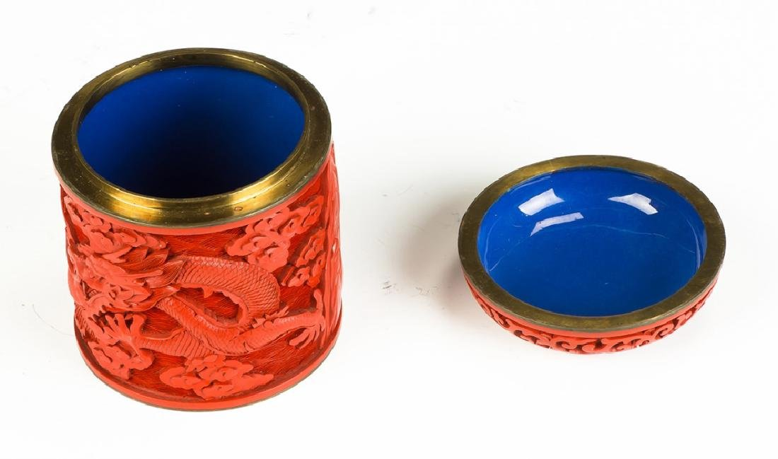 Asian Cinnabar Lacquer Carved Box - 3