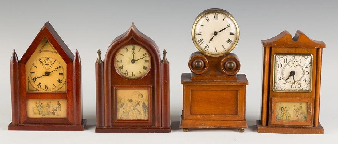 Four Vintage Miniature Shelf Clocks
