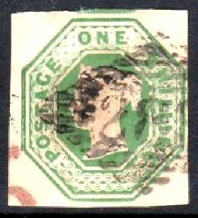 GB used in Ireland: Embossed 1/- green