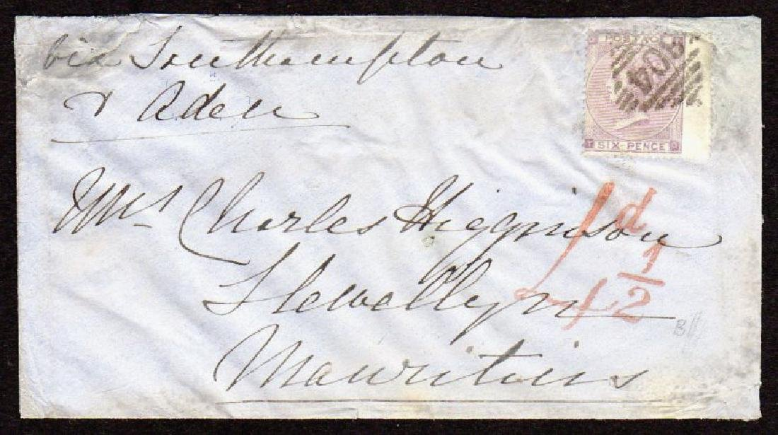 GB used in Ireland: Cover to Mauritius with 6d lilac