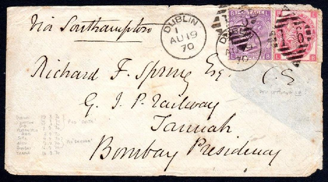 GB used in Ireland: Cover to Bombay with 6d mauve and