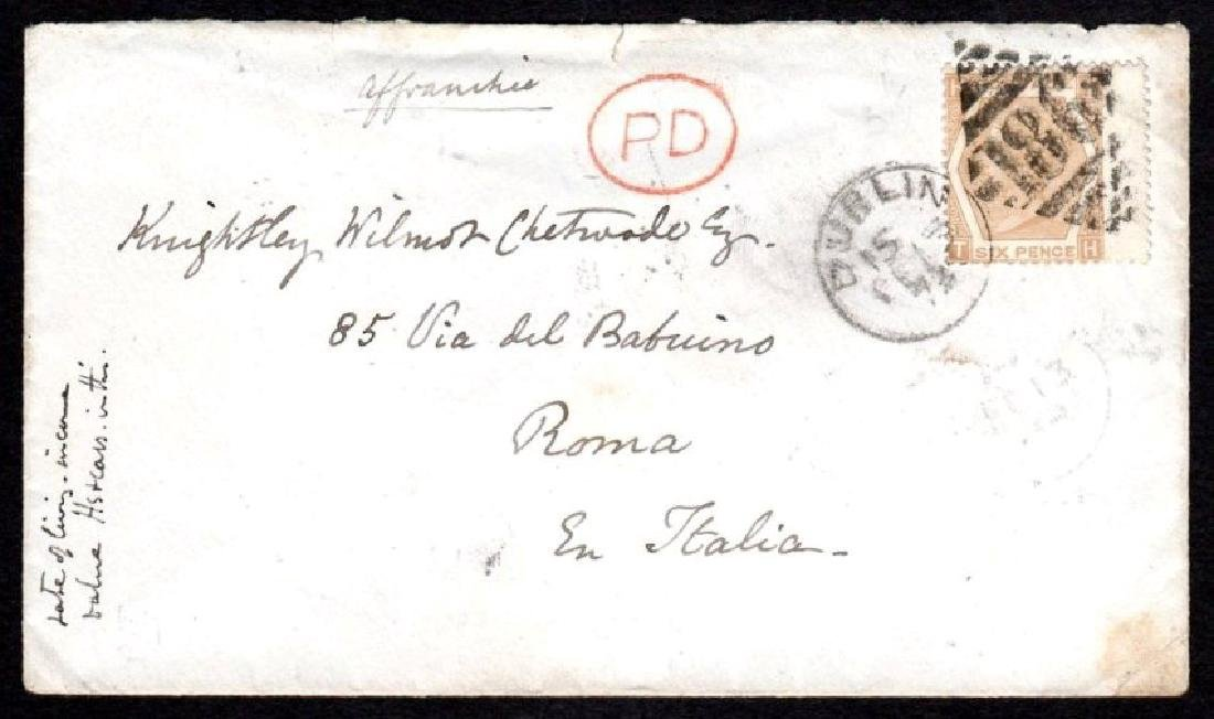 GB used in Ireland: Cover to Rome with 6d pale chestnut