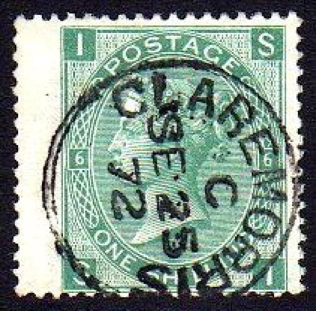 GB used in Ireland: 1871 1/- green